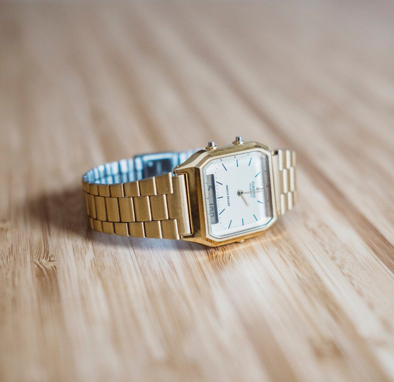 A small metal watch like this can easily be found in outlets